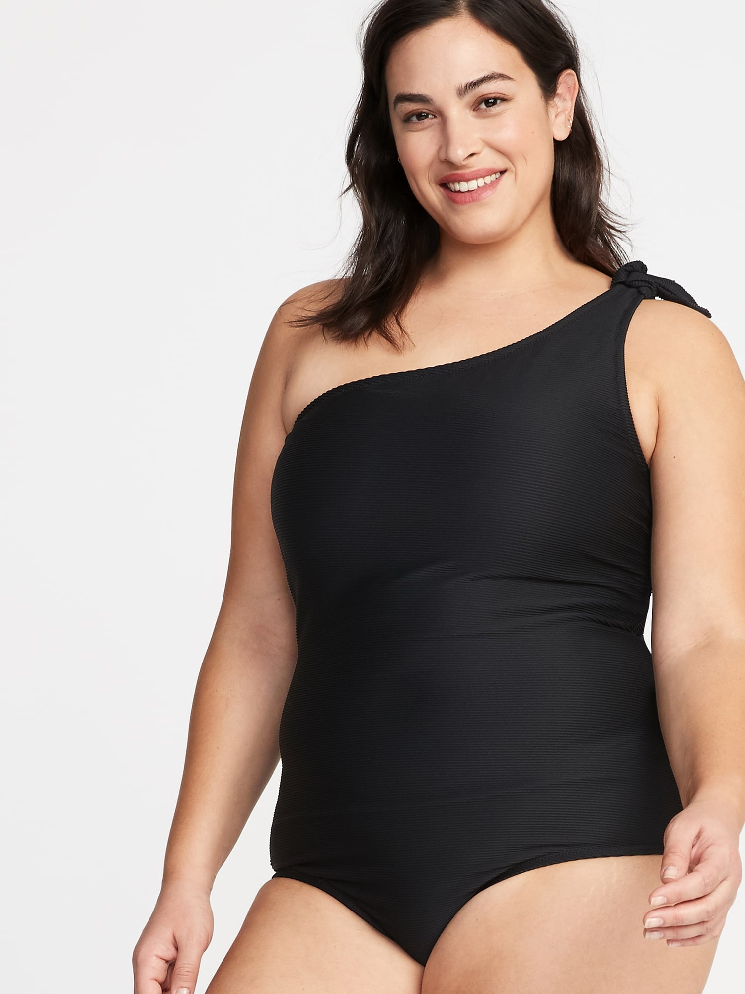 a82f79261fe5d Textured Knotted One-Shoulder Plus-Size Secret-Slim Swimsuit | Old Navy