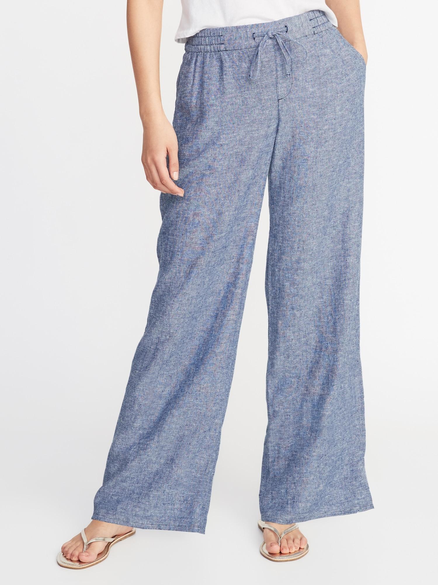 52f22bd355b9b Mid-Rise Wide-Leg Linen-Blend Pants for Women | Old Navy