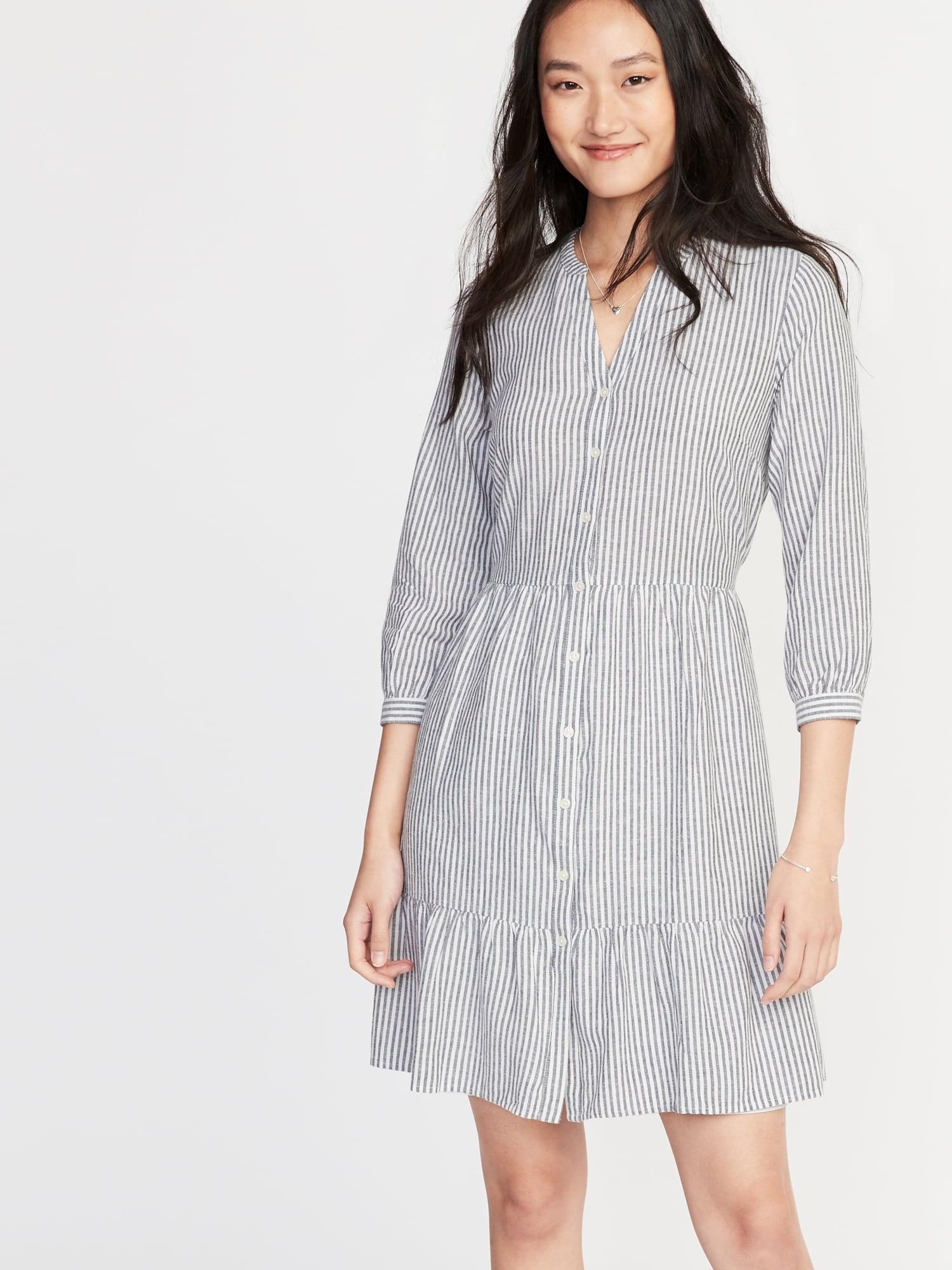 96c2a06fd4 Waist-Defined Striped Shirt Dress for Women