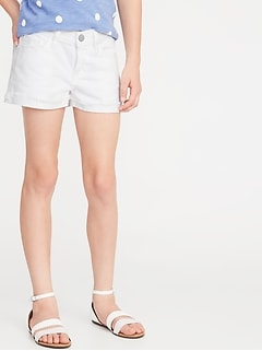 Cuffed Raw-Edge White Denim Shorts for Girls
