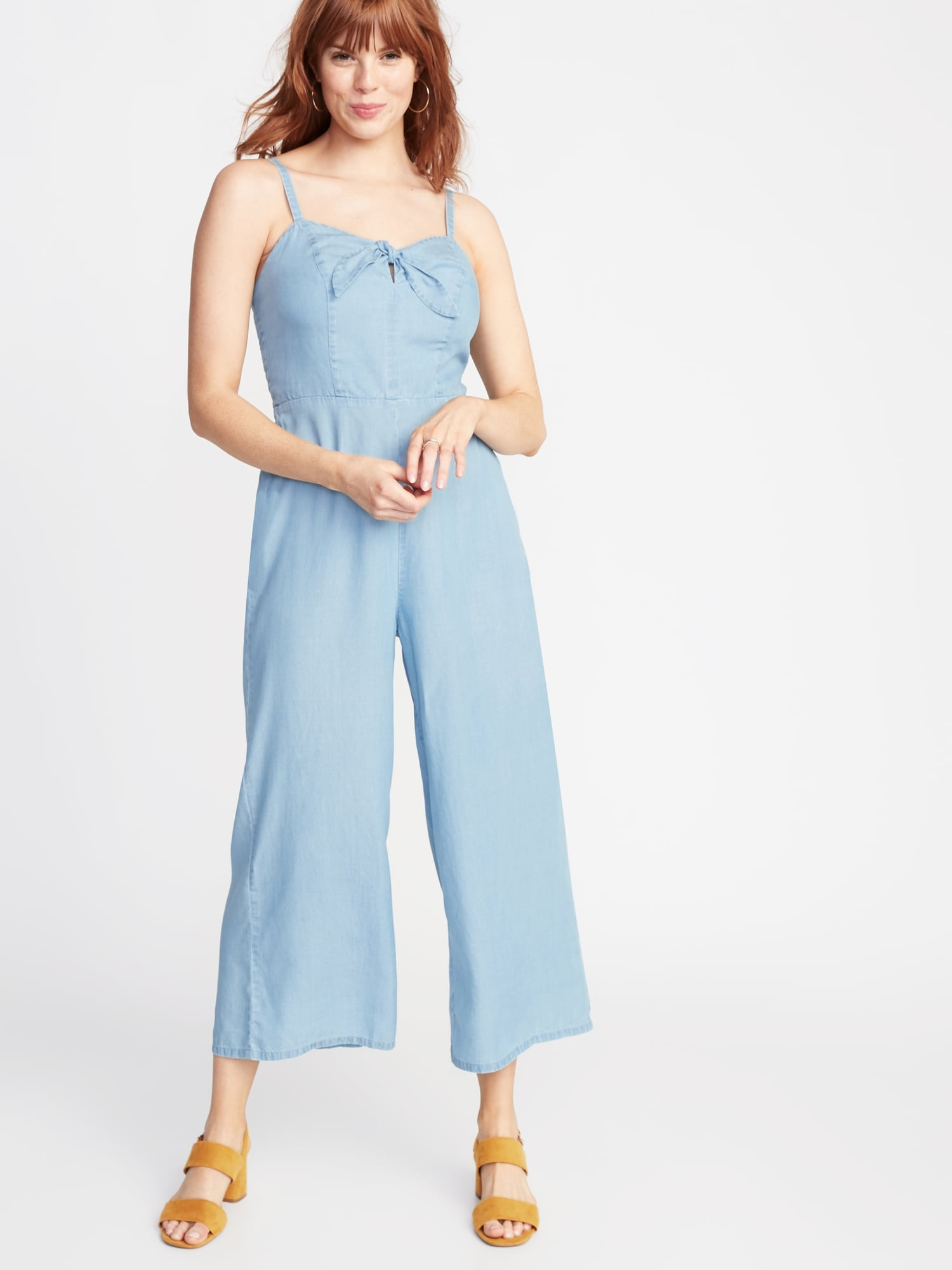 7719b5993181b Sleeveless Bow-Tie Front Chambray Jumpsuit for Women | Old Navy