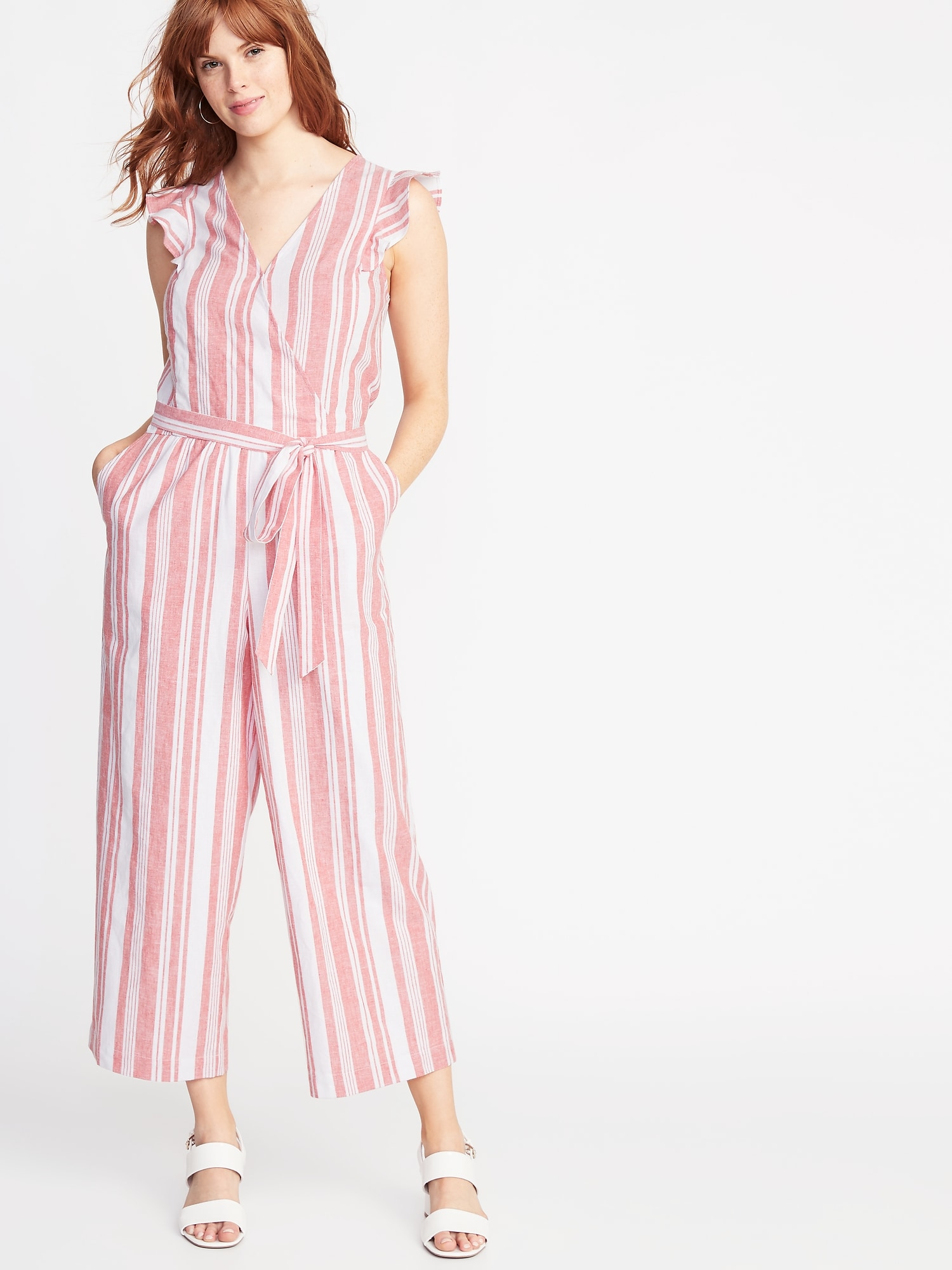 b7dd89e67ee Faux-Wrap Tie-Belt Linen-Blend Jumpsuit for Women