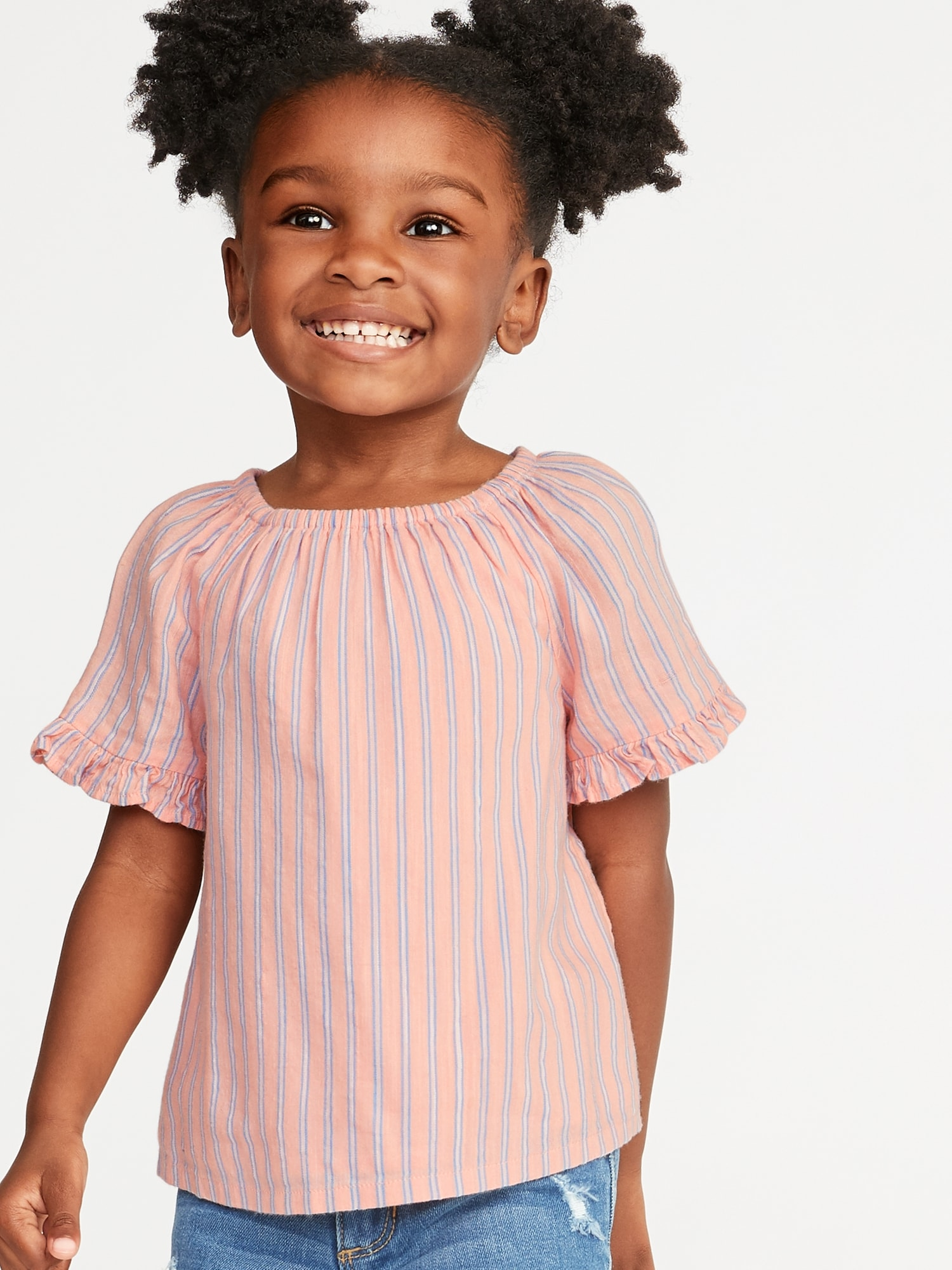 90d2df1a Striped Ruffle-Trim Swing Top for Toddler Girls | Old Navy