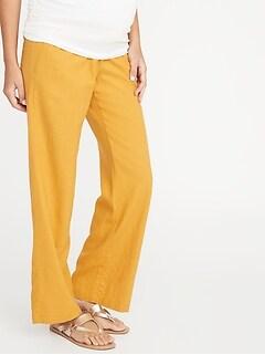 Pantalon de maternité en mélange de lin avec panneau à rouler