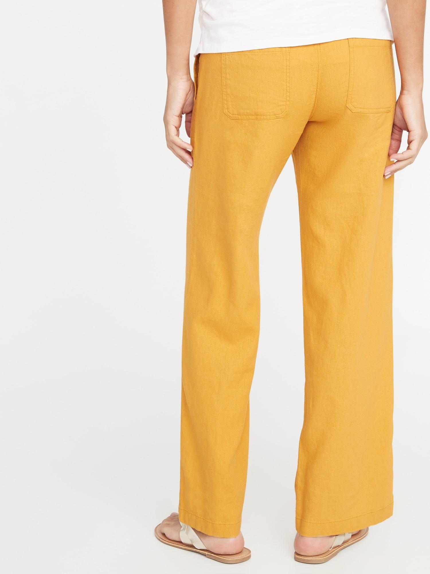 3ab246d46f061 Maternity Rollover-Waist Linen-Blend Pants | Old Navy