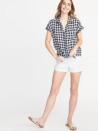 92a8d22cf Patterned Tie-Hem Linen-Blend Shirt for Women   Old Navy