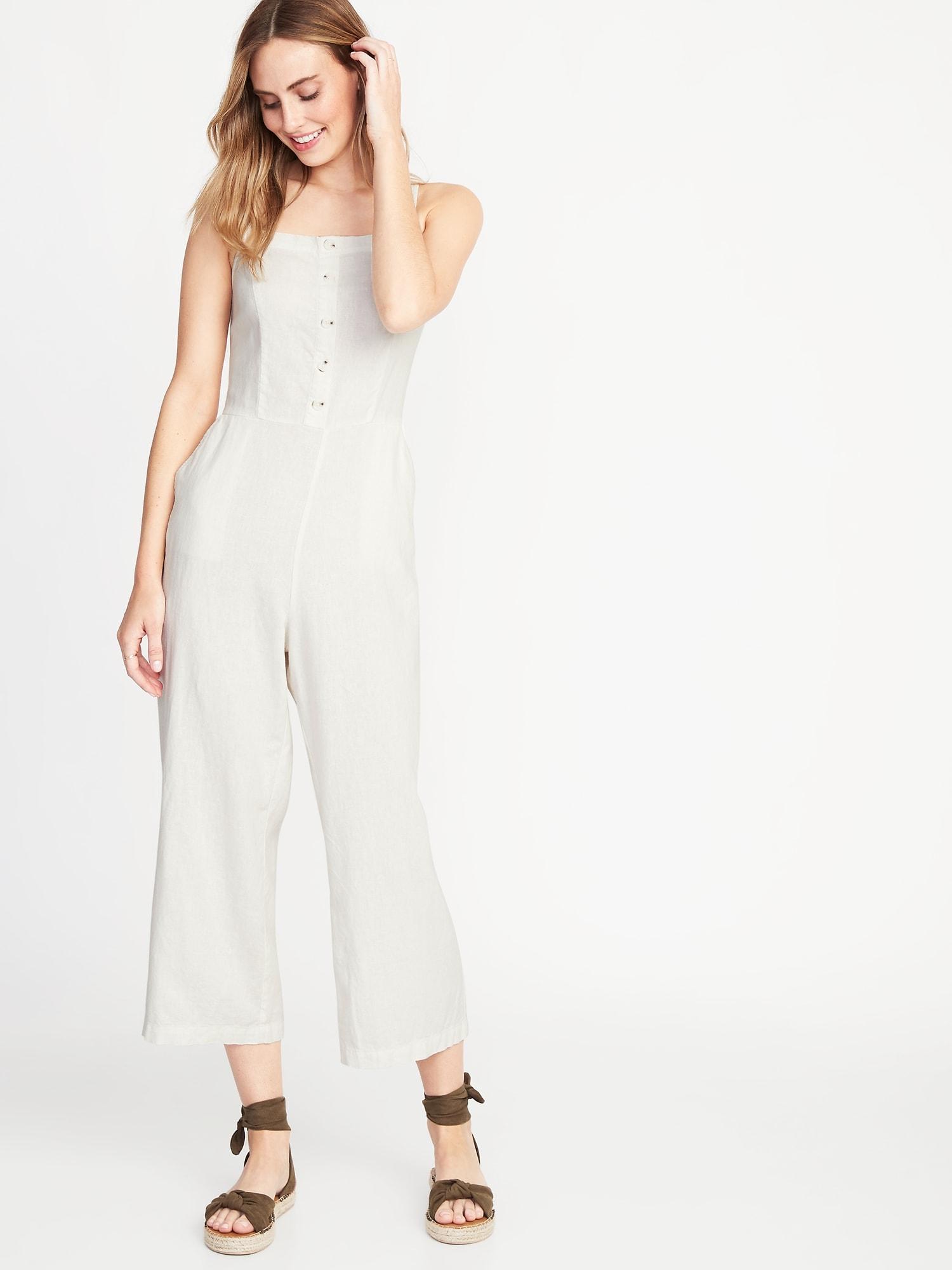 1f4f35d2cf5 Button-Front Linen-Blend Cami Jumpsuit for Women