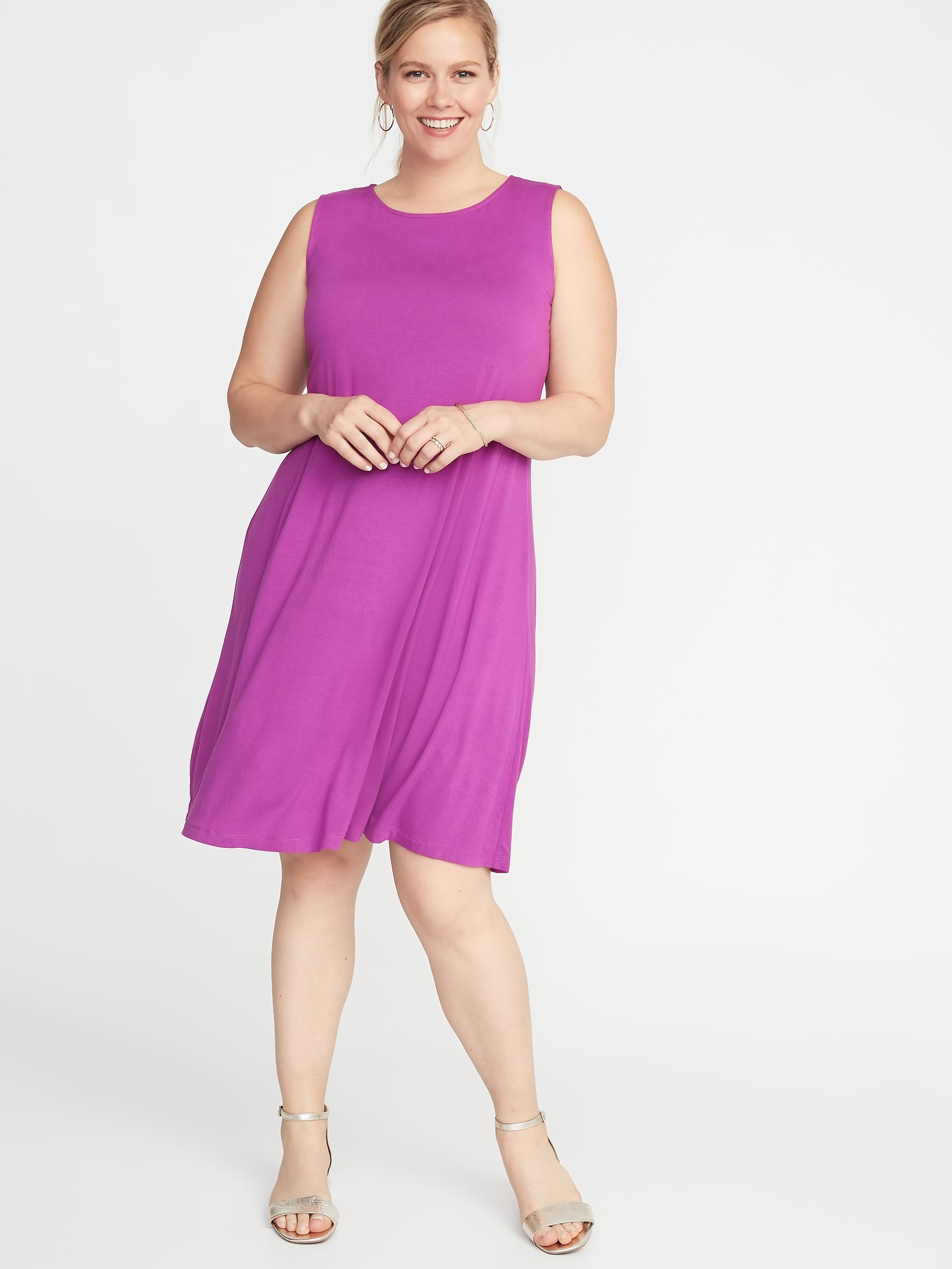 d2a403909f2 Sleeveless Plus-Size Jersey Swing Dress