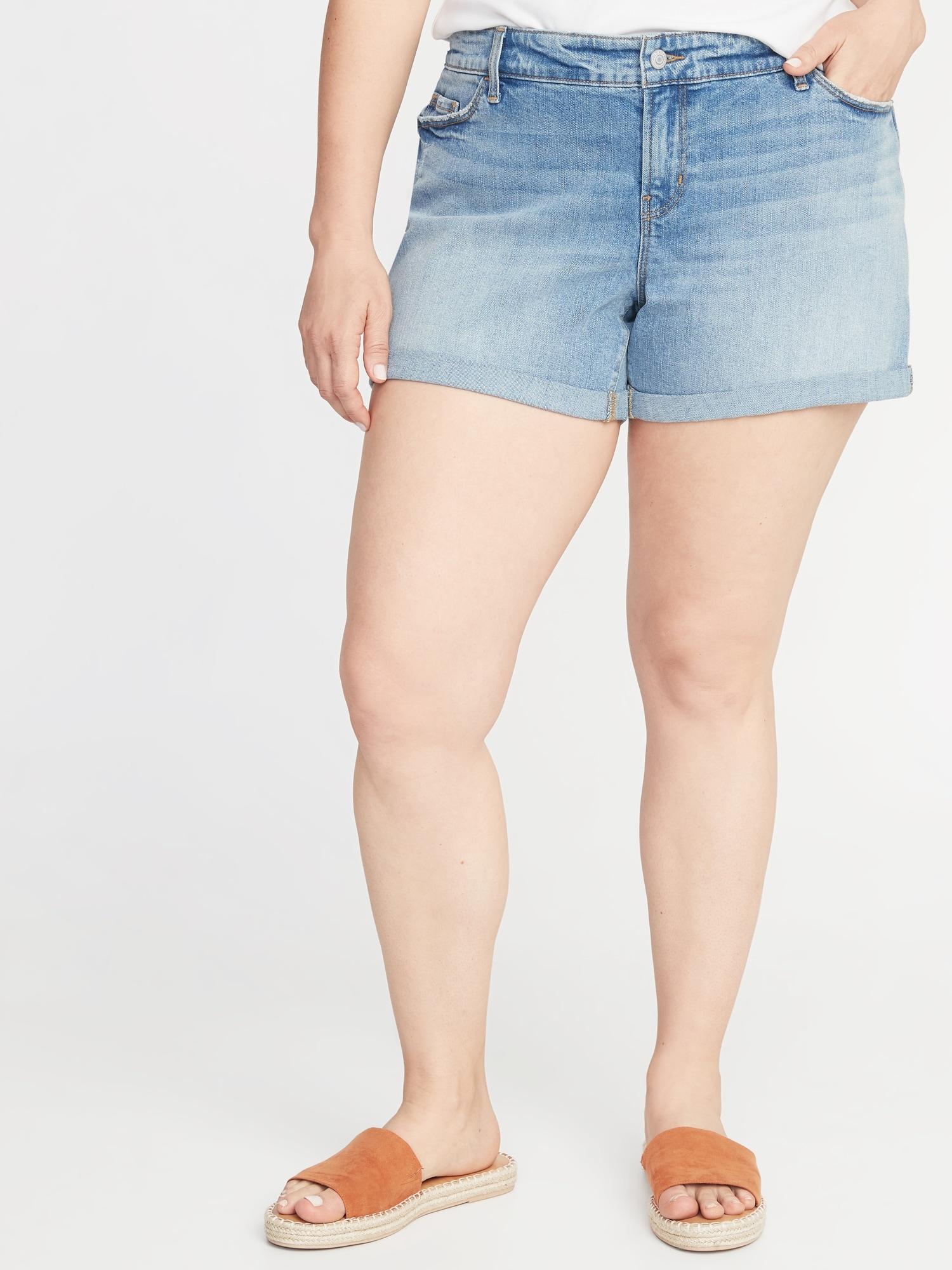 ad6b3fb53c Mid-Rise Boyfriend Distressed Plus-Size Denim Shorts - 5-inch inseam ...
