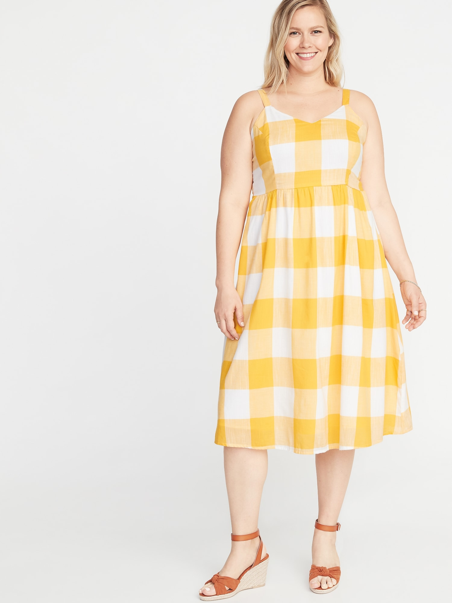 644968eec37 Gingham Fit   Flare Plus-Size Cami Midi Dress