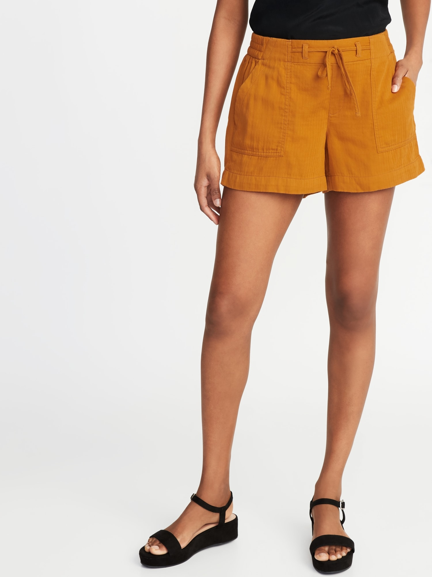 0a082aa889e65 Mid-Rise Soft Twill Pull-On Shorts for Women - 4-inch inseam | Old Navy
