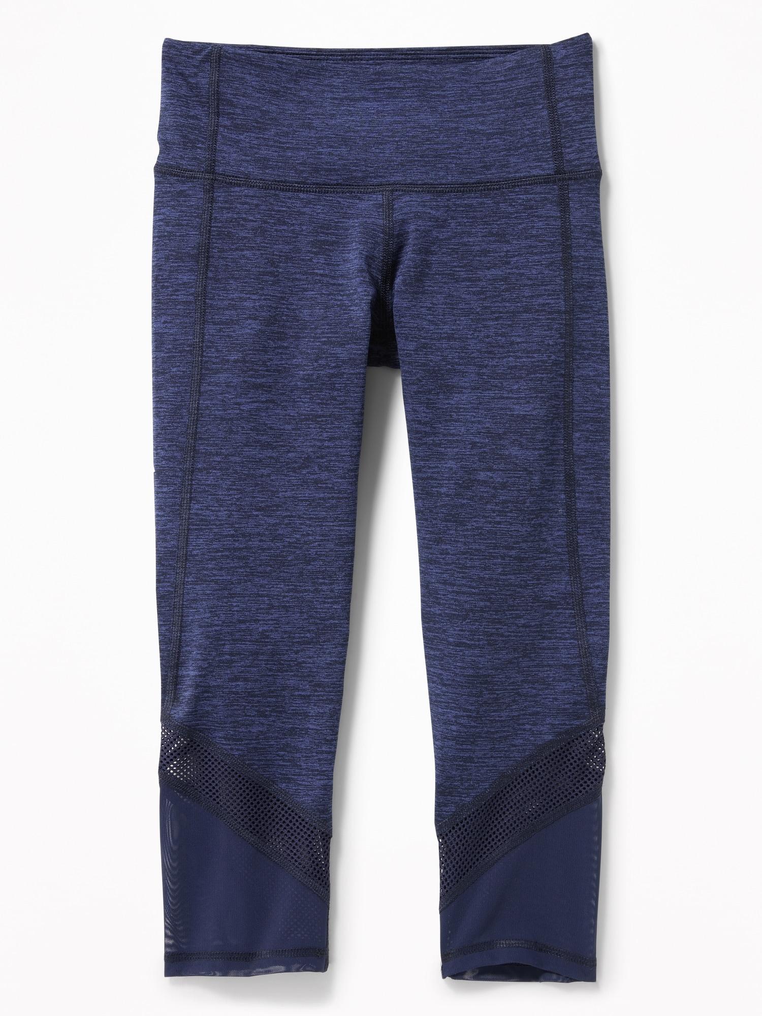 2b7ecbd348590 Mid-Rise Go-Dry Mesh-Trim Cropped Leggings for Girls | Old Navy