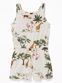 8b88984df1bc3 Printed Jersey Racerback Romper for Girls   Old Navy
