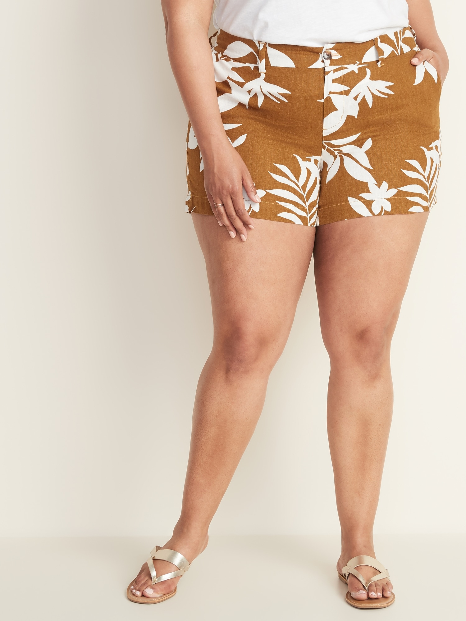 9ac4a19aa2 Mid-Rise Plus-Size Everyday Linen-Blend Shorts - 5-Inch Inseam | Old ...