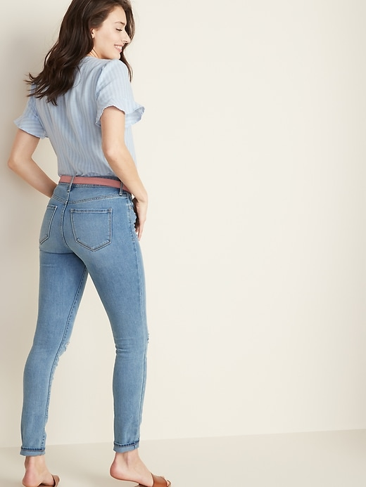 Mid-Rise Pop Icon Skinny Distressed Jeans for Women