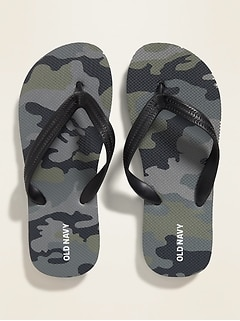 Gender-Neutral Classic Camo-Print Flip-Flops for Kids