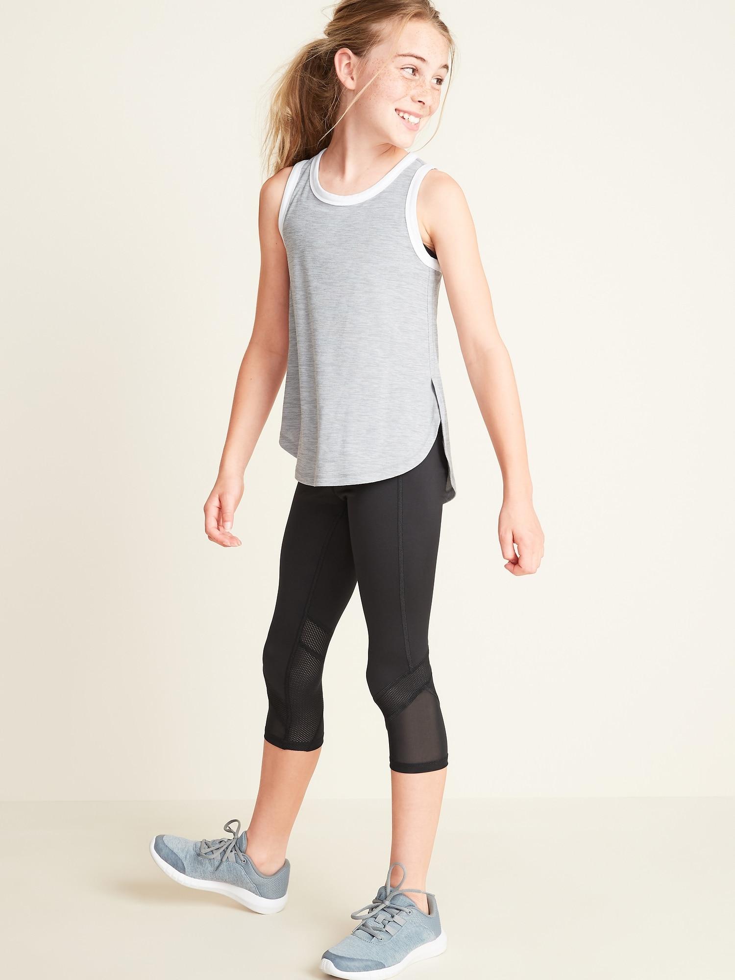 bbb7e7a4deacb0 Mid-Rise Go-Dry Mesh-Trim Cropped Leggings for Girls | Old Navy