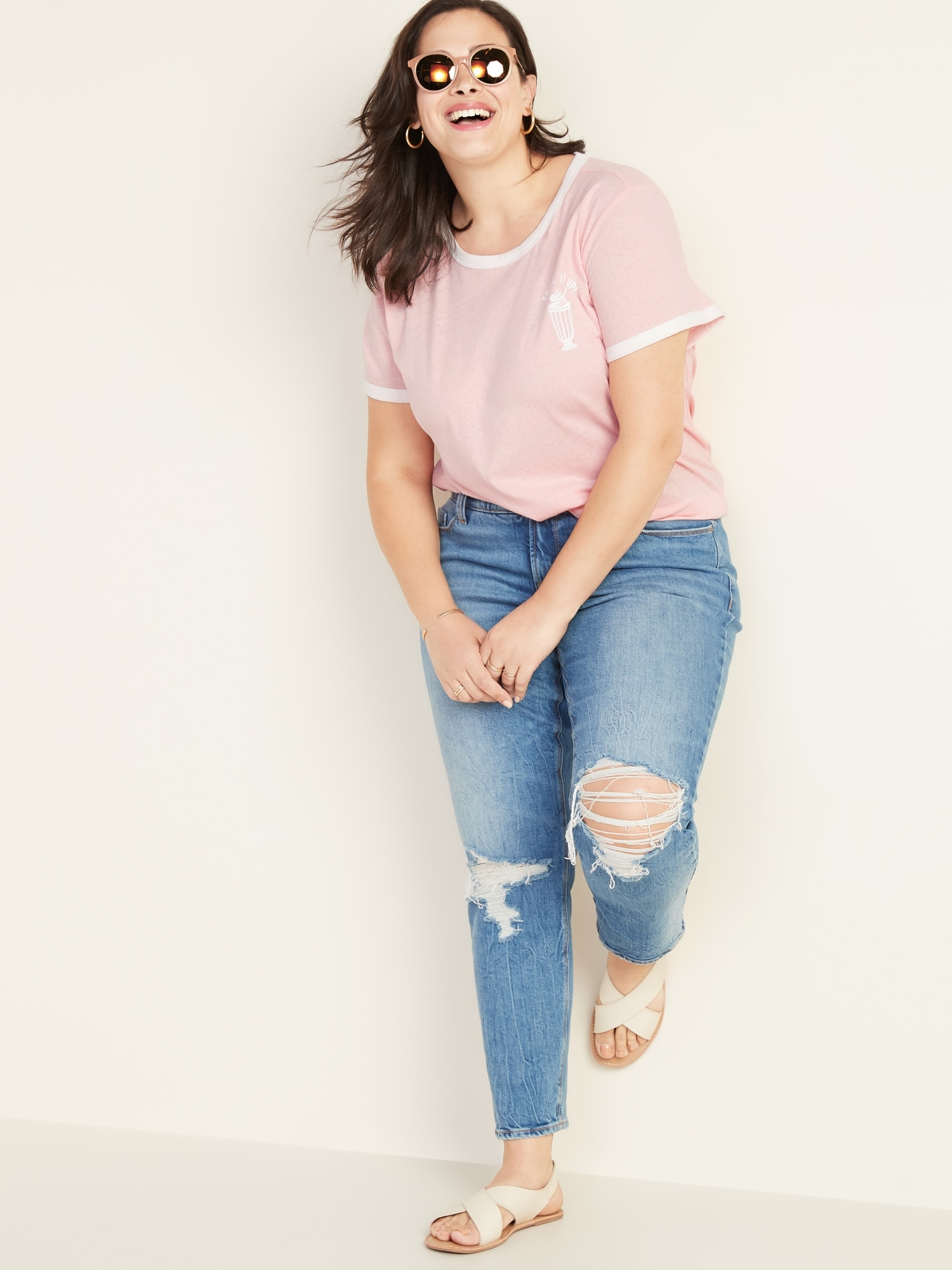 7b494747b Slim-Fit Plus-Size Graphic Ringer Tee | Old Navy