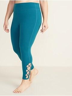 High-Waisted Plus-Size 7/8-Length Lattice-Hem Balance Leggings