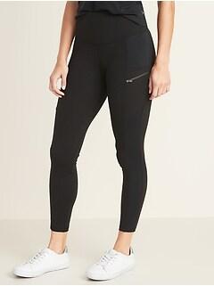 High-Waisted Zip Pocket 7/8-Length Street Leggings For Women