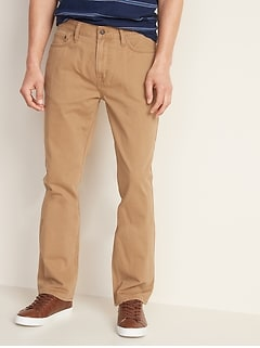 Straight Five-Pocket Twill Pants For Men