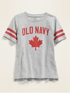 Logo Maple Leaf Graphic Tunic Tee for Girls