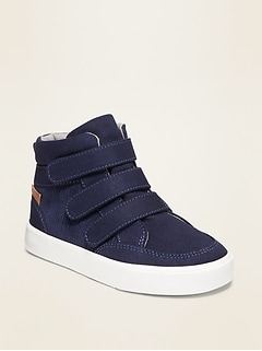Triple Secure-Strap Canvas/Corduroy High-Tops for Toddler Boys