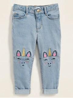 Unicorn-Graphic Light-Wash Boyfriend Jeans for Toddler Girls