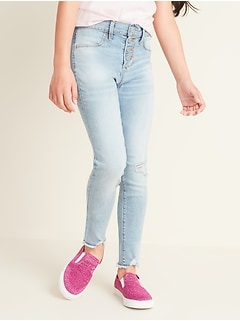 High-Waisted Rockstar Built-In Tough Distressed Button-Fly Jeggings For Girls
