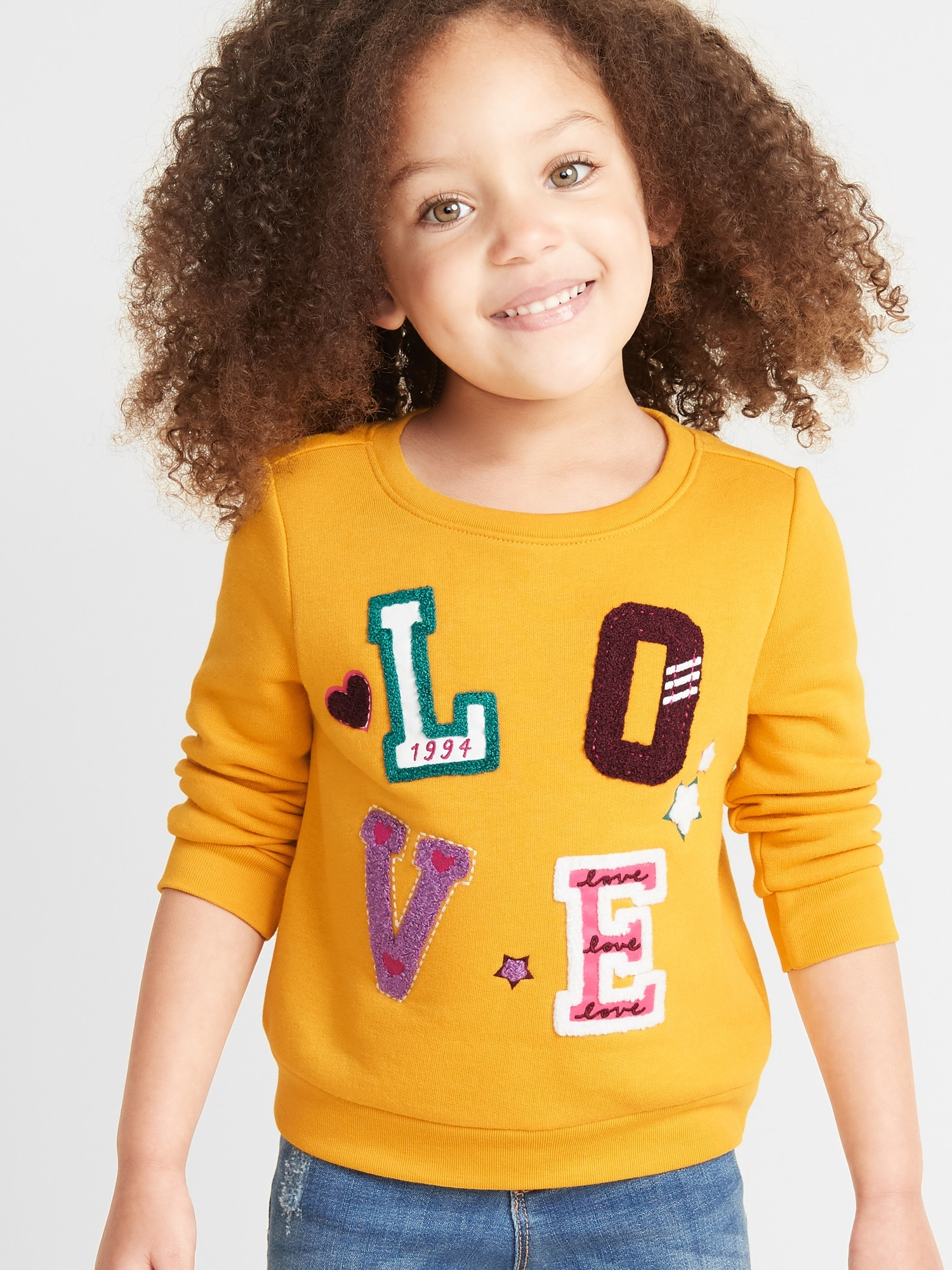 Relaxed Crew Neck Sweatshirt For Toddler Girls by Old Navy