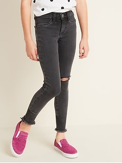 Ballerina Built-In Tough Distressed Black Jeggings for Girls