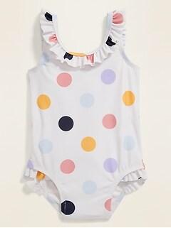 Ruffle-Trim Polka Dot Swimsuit for Baby