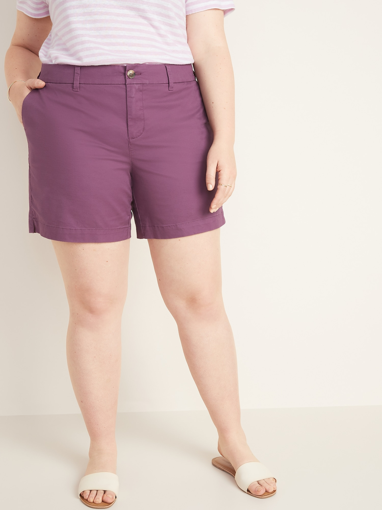 e988818899 Mid-Rise Plus-Size Twill Everyday Shorts - 7-Inch Inseam | Old Navy