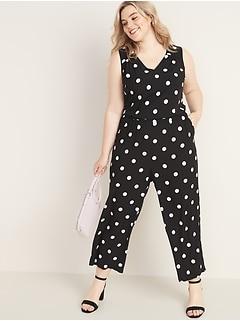 Waist-Defined Polka-Dot Plus-Size Wide-Leg Jumpsuit