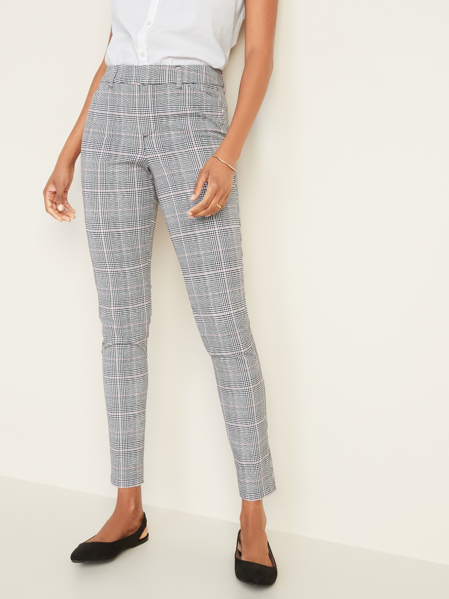 Old Navy Women/'s Patterned Pixie Chinos Grey Plaid Size 30