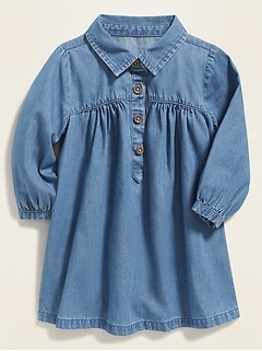 Relaxed Chambray Henley Dress for Baby