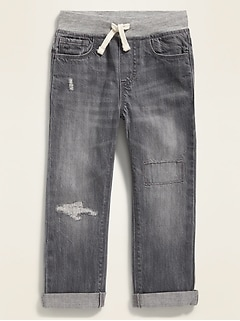 Relaxed Rib-Waist Distressed Gray Jeans for Toddler Boys