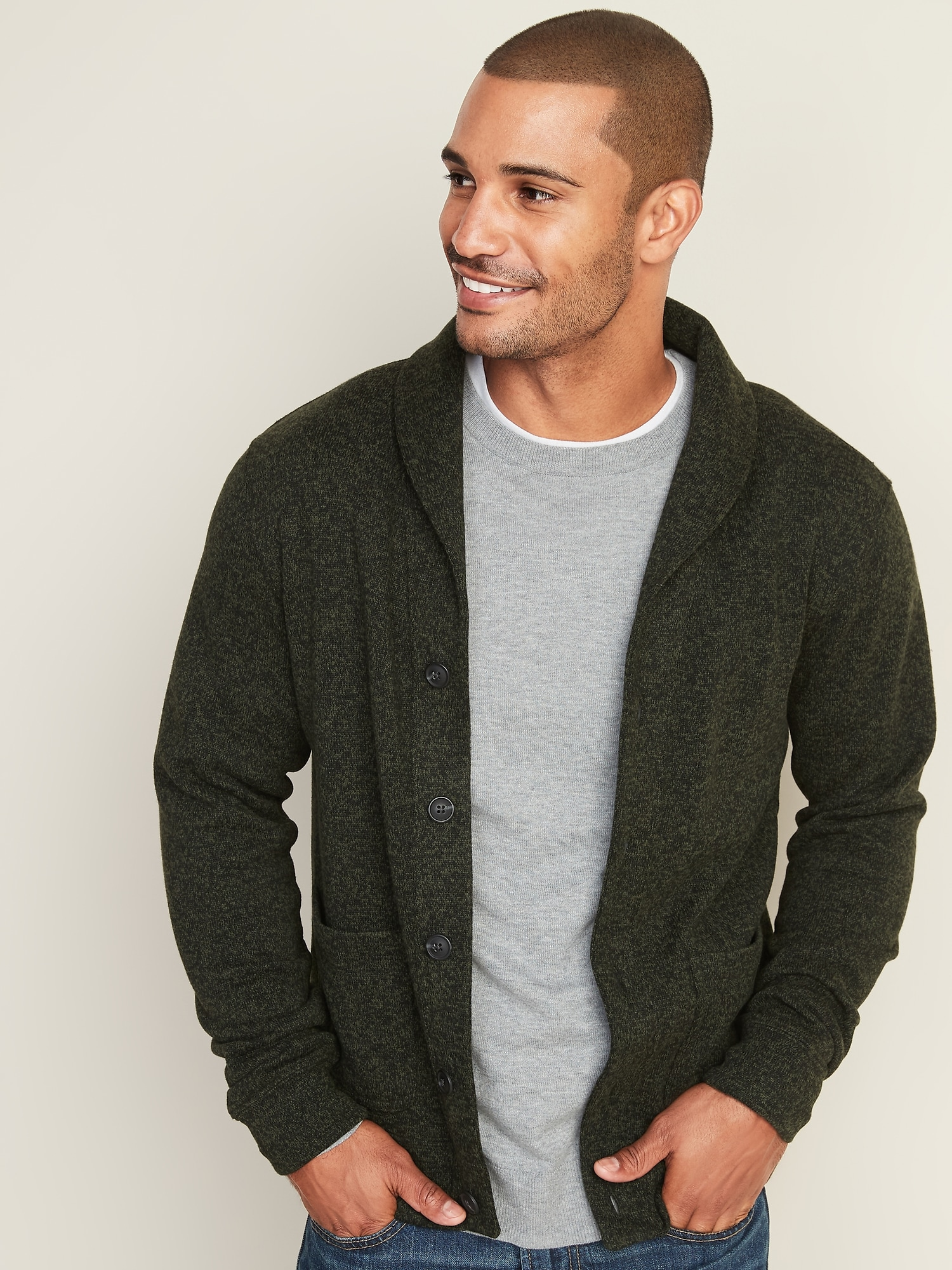 Shawl,Collar Button,Front Sweater,Fleece Cardigan for Men