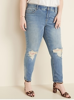 High-Waisted Secret-Slim Pockets + Waistband Power Slim Straight Plus-Size Distressed Jeans
