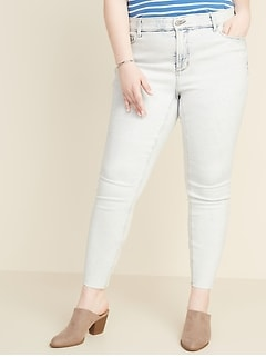 High-Waisted Secret-Slim Pockets + Waistband Plus-Size Rockstar Super Skinny Frayed-Hem Jeans