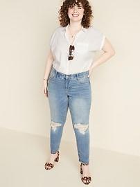 0aa58ce4c4 High-Rise Secret-Slim Pockets + Waistband Power Slim Straight Plus-Size  Distressed Jeans