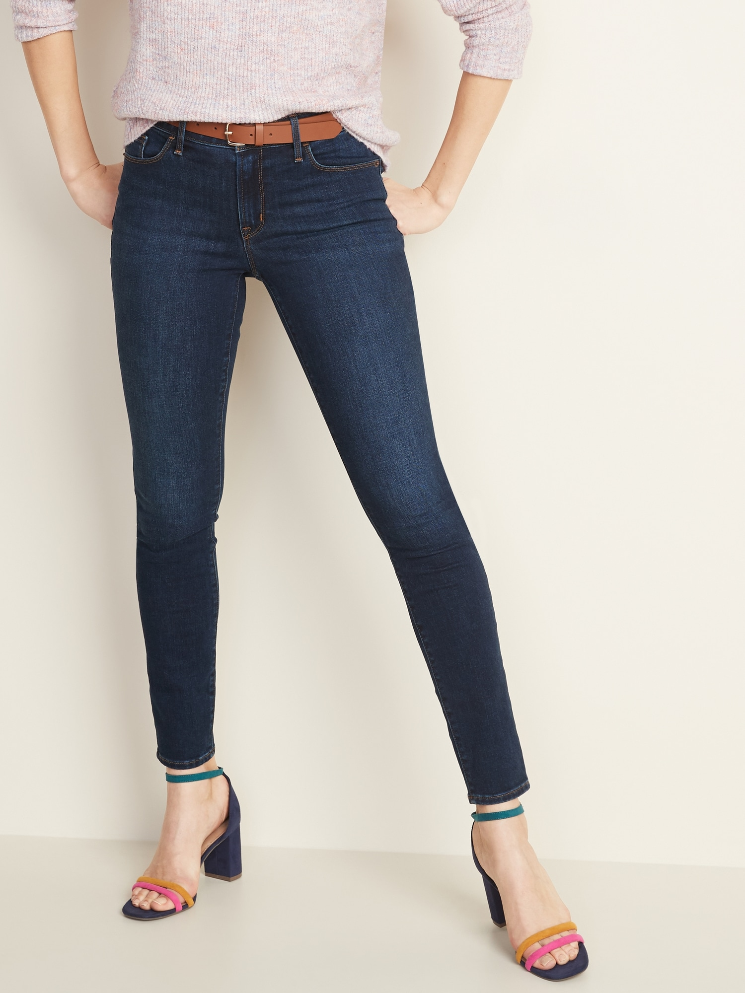 Mid Rise Dark Wash Pop Icon Skinny Jeans For Women by Old Navy