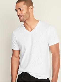 T-shirt à imprimé de palmier à col en V au fini soyeux pour homme
