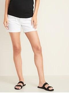 Short de maternité en denim blanc d'aspect usé, panneau complet coupe boyfriend entrejambe 13cm