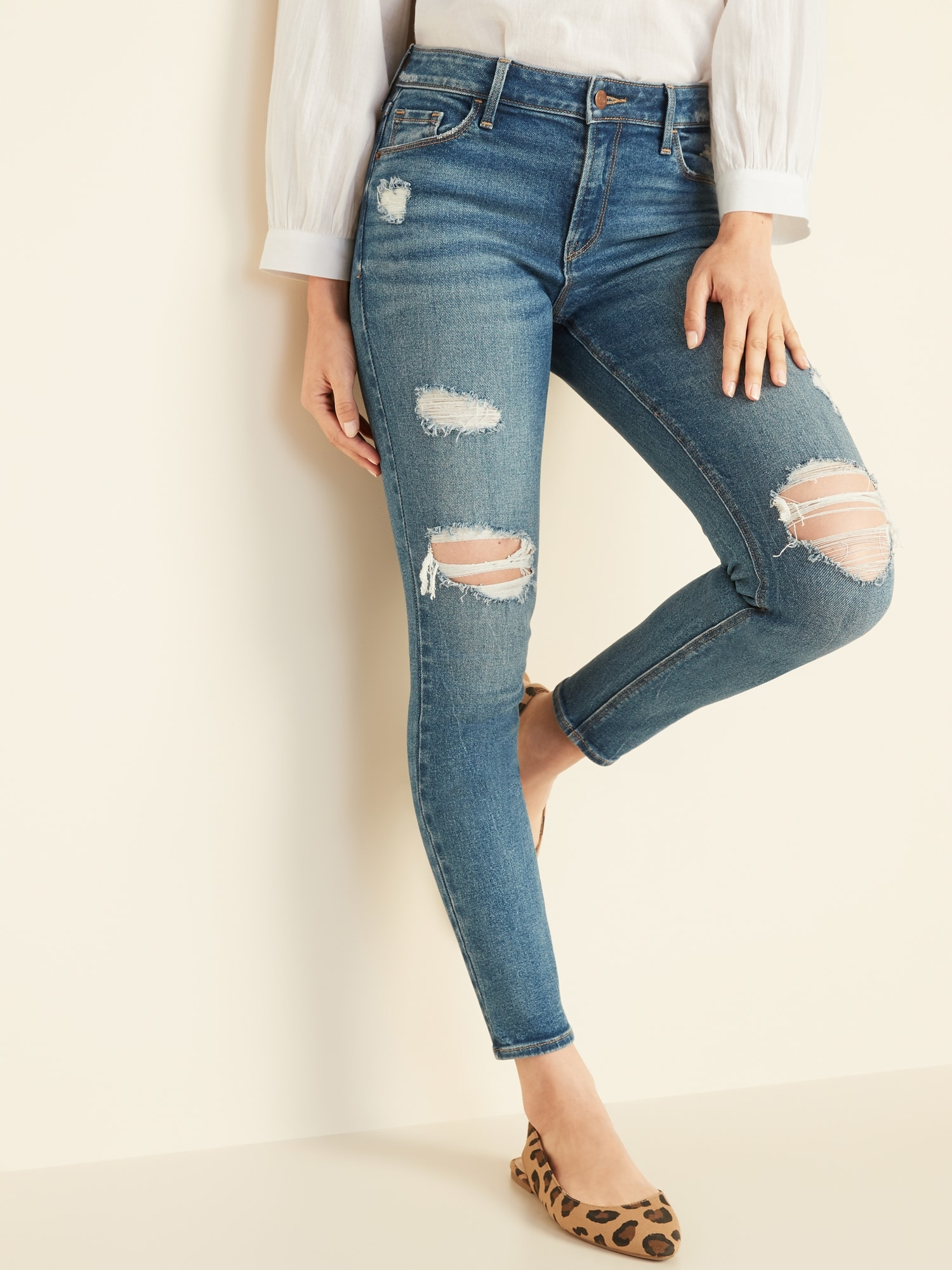 e41bd522428 Mid-Rise Distressed Rockstar Super Skinny Jeans for Women   Old Navy