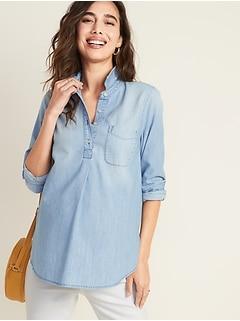 Chemise de maternité en cambrai à enfiler