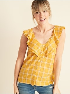 Sleeveless Plaid Ruffle-Trim V-Neck Top for Women