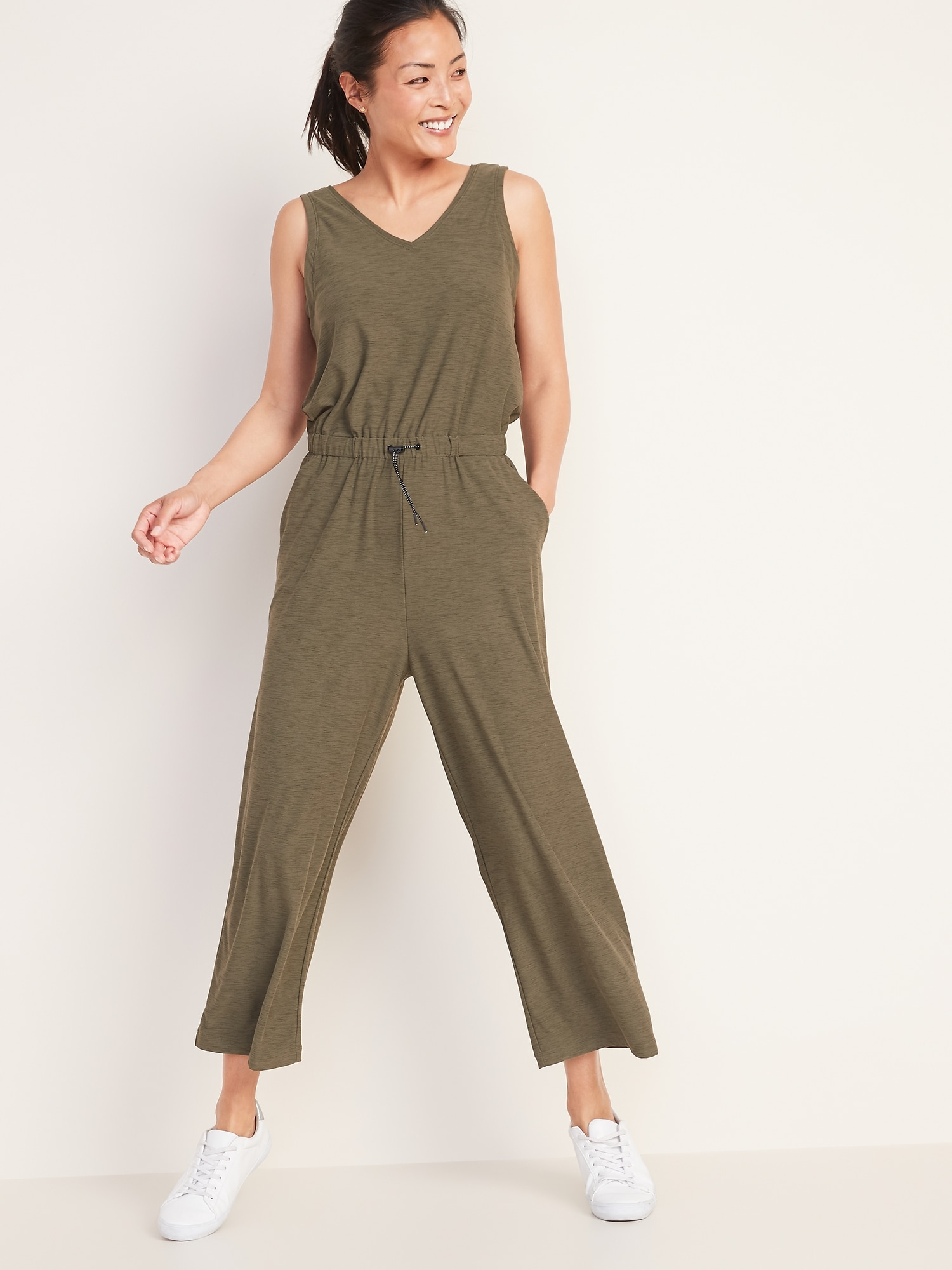 Breathe On Waist Defined Sleeveless Jumpsuit For Women by Old Navy