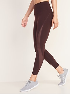 High-Waisted Elevate 7/8-Length Mesh-Splice Compression Leggings For Women