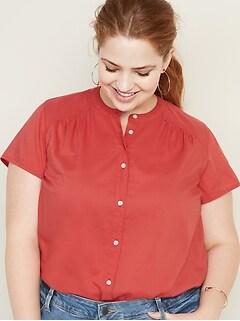 Button-Front No-Peek Plus-Size Blouse
